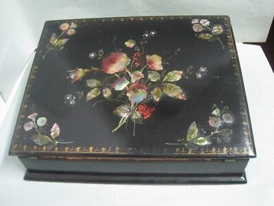 Antique Chinese portable travel desk  Lacquer wood and Mother of Pearl