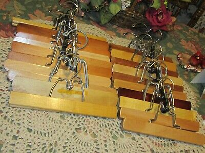 20-Wooden wire Pinch Clamp Pants Skirt Slacks Clothes Hanger's, Orga