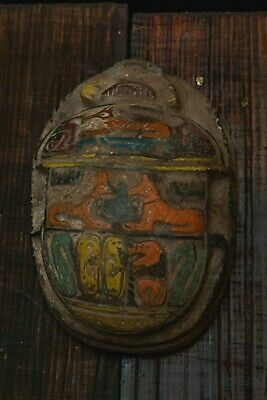 ANCIENT EGYPT EGYPTIAN SCARAB Antique STATUE Beetle HIEROGLYPHICS Stone, BCE
