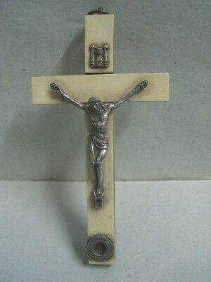 Antique Cross of Jesus Christ in metal and exotic wood religious crucifix