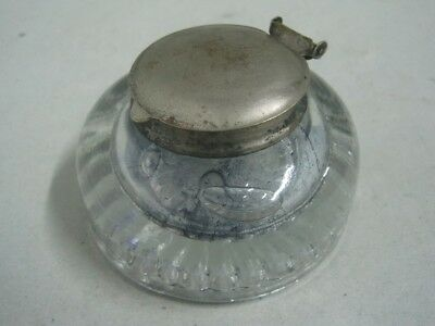 Antique ink well inkstand in glass with the cover in metal