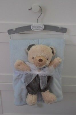 Kyle & Deena Blue Cream Baby Blanket Plush Bear Tan Security Lovey Off White