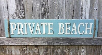 Private Beach Nautical 40 Wood Sign Cottage House Rustic