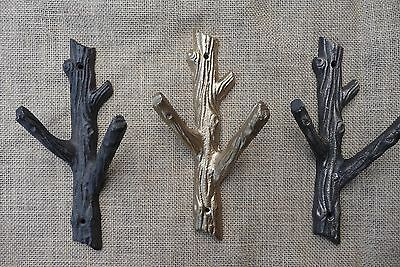 Rustic Tree Branch Wall Hook - Woodland - Cast Iron Metal Gold Coat Towel Rack
