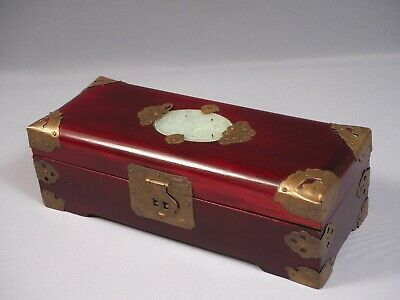 Chinese Wood Ornate Jewelry Trinket Box Lacquer Brass Carved Brass Large