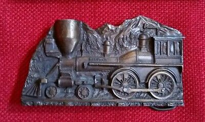VINTAGE 1977 CAPT HAWK SKY PATROL TRAIN LOCOMOTIVE BELT BUCKLE - Brass