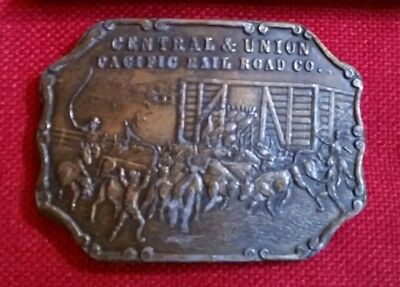 VINTAGE 1970s CENTRAL & UNION PACIFIC RAILROAD BELT BUCKLE