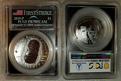 2019 P Apollo 11 50th Anniversary PROOF Silver $1 Dollar PCGS PR70 FS Moon Label