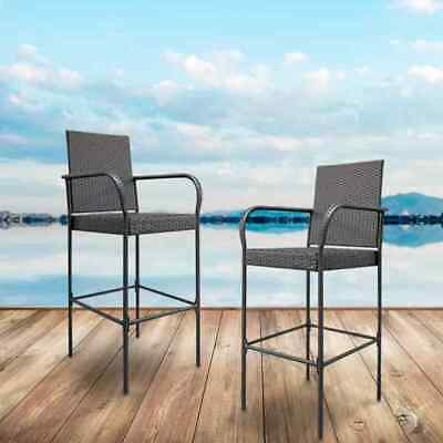 Practical Rattan 2pcs Bar Chairs Brown Gradient