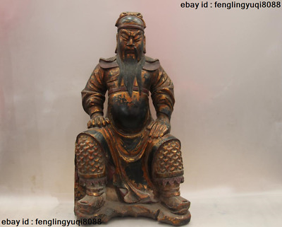 Chinese Wood Handmade Carved lacquer with gold GuanYu Guan Gong warrior Statue
