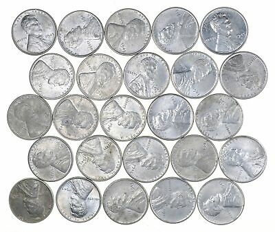 1/2 Roll 1943 Lincoln Wheat STEEL Cent Beautiful Mostly BU Unc 25 Coins Lot *637