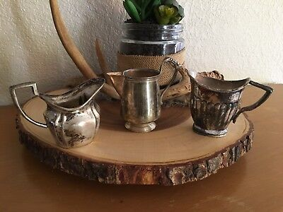Silver Plated Antique Creamers Set Of 3 - Tea Party Milk Dish Shabby Chic