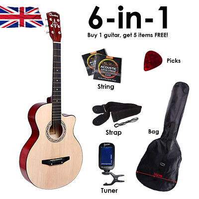 """6in1 Walnut Acoustic Classic Guitar 3/4 Size 38"""" Starter Pack 6 String UK"""