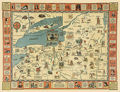 Historic 1935 Map Native American Indian Episodes of New York State Hodenosaunee