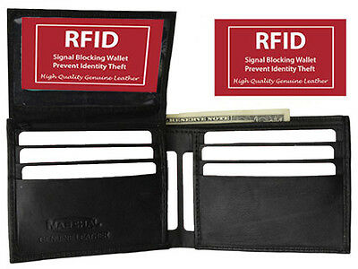 RFID Signal Blocking Men's Bifold 8 Card ID Credit Leather Flap Top Wallet Black