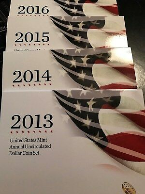 2013, 2014, 2015 & 2016 Mint Annual Unc. Dollar Sets w/Burnished Silver Eagles