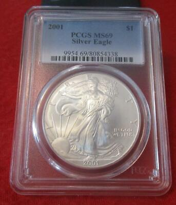 2001 PCGS MS 69 Silver Eagle. ASE. Blast White                           MF-434