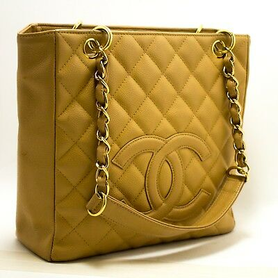 7829377e194f p88 CHANEL Authentic Caviar PST Chain Shoulder Bag Shopping Tote Beige  Quilted