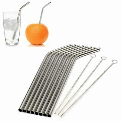 8X Stainless Steel Metal Drinking Straw Reusable Straws + 3 Cleaner Brush Kit TH