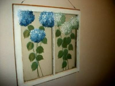 Antique Window Sash Architectural Salvage Upcycled Art HP Hydrangea Chic Shabby
