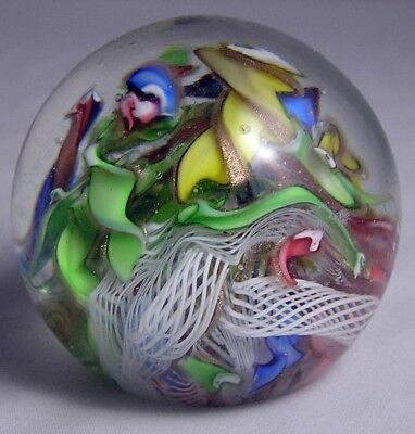 Murano Art  Glass Scramble Paperweight Ribbon & Latticino Gold