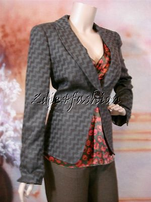 $2995 New GIORGIO ARMANI Brown Gray Wool Cashmere Zig Zag Blazer Jacket 12 46