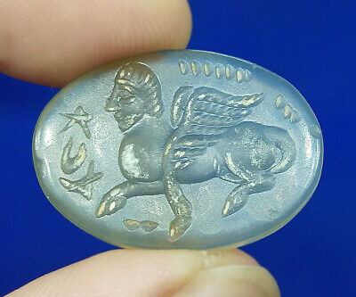 Near Eastern Agate Intaglio Sphinx Stamp Seal Wax Oval Shape Bead BCD609