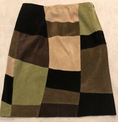 7bdb79996f Alfani Suede Skirt Black Brown Green Patchwork Boho Skirt Size 12 EUC sgb