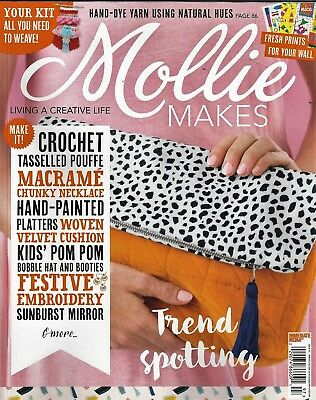 """Brand New ~""""mollie Makes"""" Issue #97 2018~Gift~Free Gift-Weaving Loom+Booklet"""