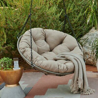 Papasan One Person Tufted Cushion Hanging Porch Swing Outdoor Home Seating  Patio