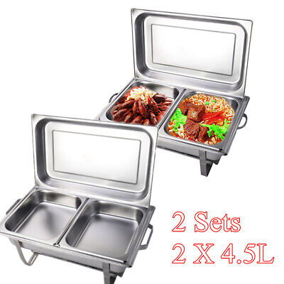 2Sets Bain Marie Bow Chafing Dish 2X 4.5L Pan Stainless Steel Food Buffet Warmer