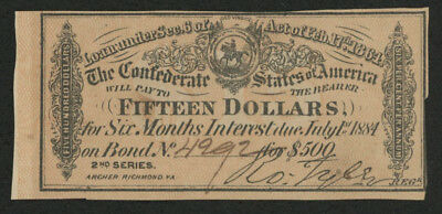 1864 $15 Fifteen Dollars Confederate States of America Richmond CSA Bank Note