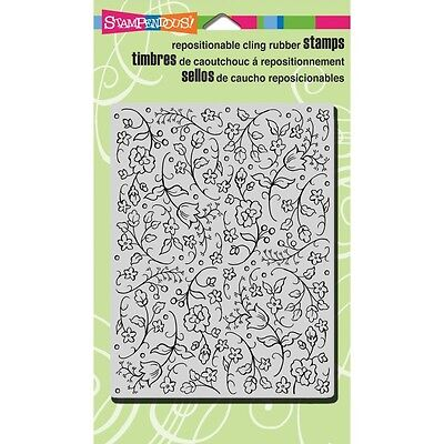 """Stampendous Cling Rubber Stamp 4""""X4"""" - Floral Tapestry"""