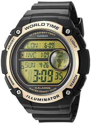 Casio Men's Digital Quartz World Map 100m Black Resin Watch AE3000W-9AV