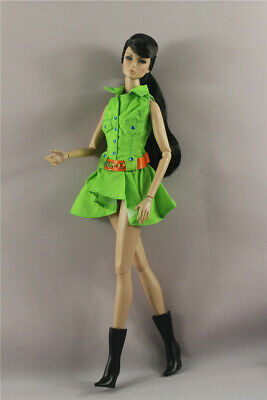 Fashion Cool Green dress  Skirt  clothes outfit  + Boots For 11.5in.Doll