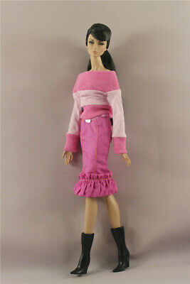 Fashion Pink Top+ dress  Skirt  clothes outfit  + Boots  For 11.5in.12 inch Doll