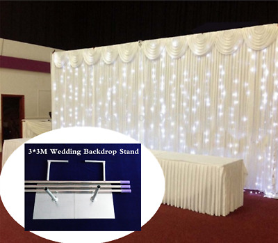 Backdrop Stand Pipe Wedding Curtain Drape Frame Telescopic Pole+Curtain w/ Swag