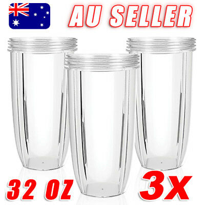 3X NUTRIBULLET COLOSSAL BIG LARGE TALL 32OZ Clear CUP - Nutri Bullet 600 & 900W