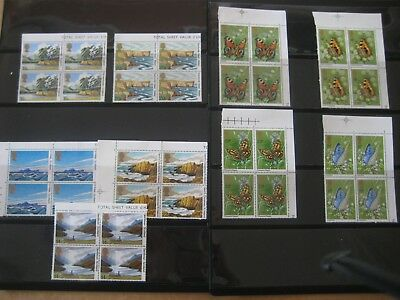 Great Britian 5 x Block Sets Landscapes & 4 x  Butterflies Sets of MUH Stamps.