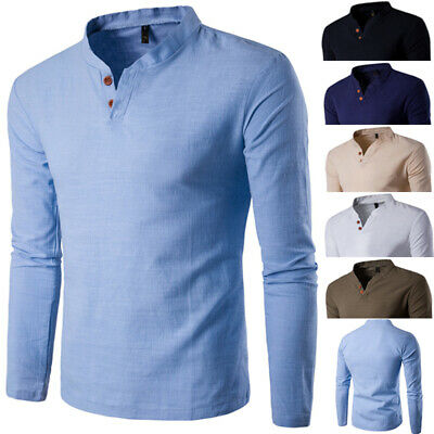 New Mens Fashion Casual Tee Slim Fit V-neck Long Sleeve Tops Tee T-shirt