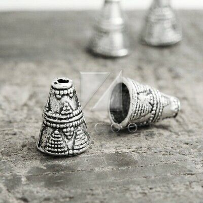 50pcs Tibetan Silver Beads End Caps Metal Jewelry Findings Cone 8.5x8.5x11.5mm