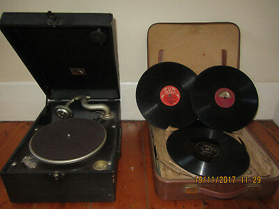 Gramaphone, records, case and needles
