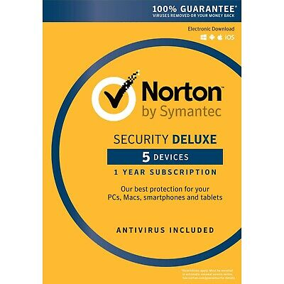 Norton Security Deluxe *new 2019* | 5 Pc | 12 Months | Eu & Uk Key |  Instant |