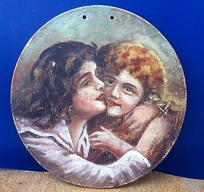 Beautiful Antique Art Deco Wooden Wall Paint Plate