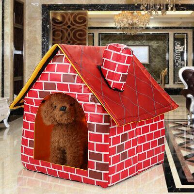 Foldable Dog House Pet Bed Tent Cat Kennel Indoor Portable Travel Puppy Mat UK