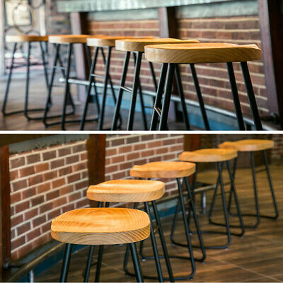 2/4X Retro Tractor Bar Stool Vintage Industrial Dining Chairs Wooden Timber