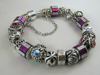 "925 SILVER STAMPED 20cm EUROPEAN STYLE CHARM BRACELET  "" RASPBERRY BLING """