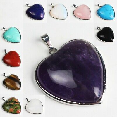 Natural Amethyst Lapis Lazuli Agate Heart Gemstones Chakra Pendant Fits Necklace