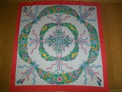 Delightful Ribbons Fruit & Flowers Design Vintage Silk Scarf