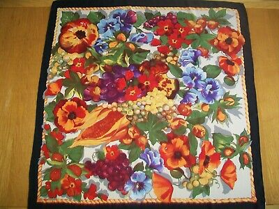 Austin Reed. Fabulous ! Stunning Fruits & Flowers Design Vintage Silk Scarf